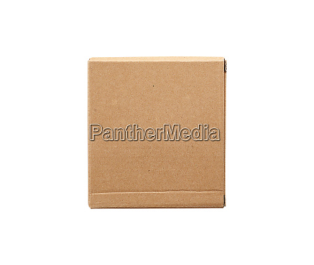 closed brown square cardboard box for
