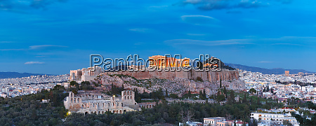 acropolis hill and parthenon in athens