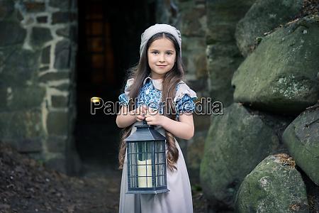 frightened little girl in retro style