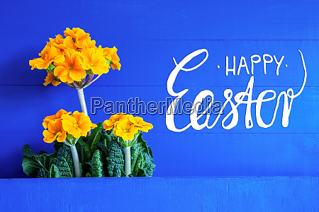 yellow spring flowers text happy easter