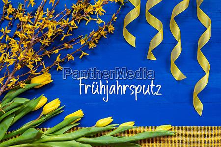 spring flowers decoration branch ribbon fruehjahrsputz