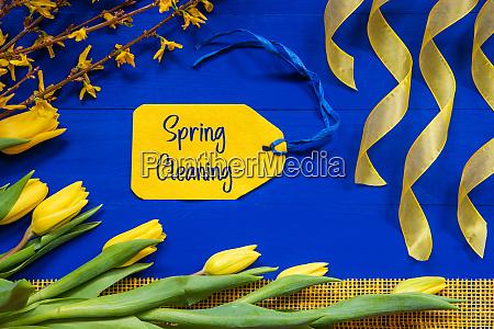 spring flowers decoration branch ribbon label