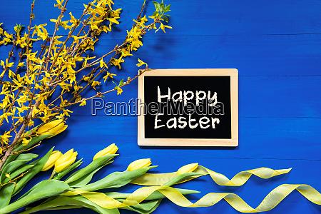 spring flowers decoration branch blackboard text