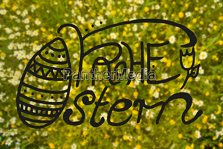 daisy and yellow flower meadow calligraphy