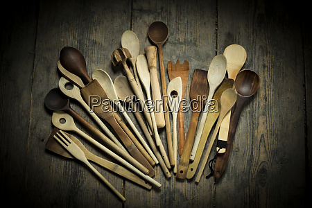 several wooden spoons