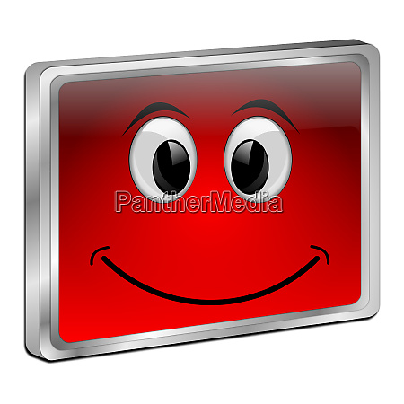 red button with smiling face