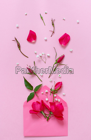 spring composition with envelope and pink