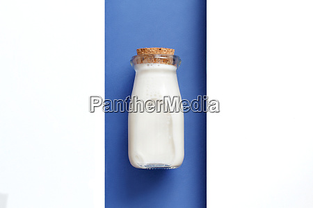 milk on a white and blue