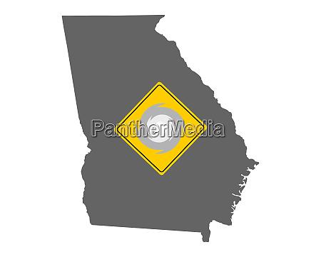 karte von georgia mit verkehrsschild sturmwarnung