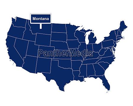 der bundesstaat montana mit strassenschild