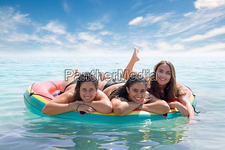 girls having fun in the water