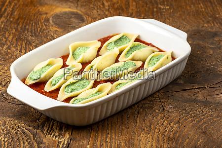 italian conchiglino pasta in a casserole