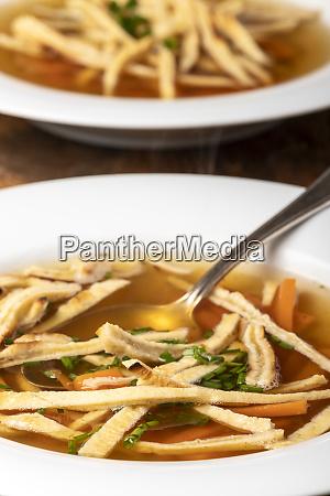 austrian pancake soup in plate