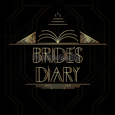 golden decorative brides diary sign with