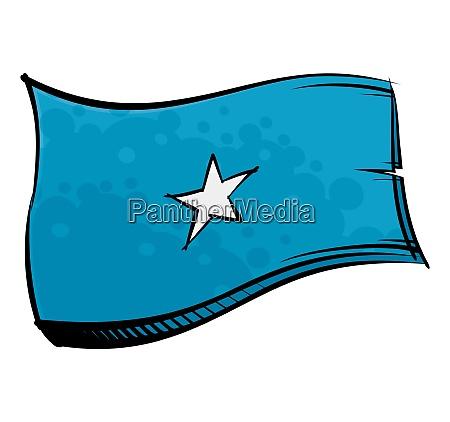 painted somalia flag waving in wind