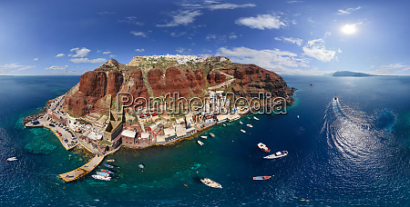 panoramic aerial view of oia town