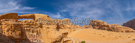 panoramic aerial view of wadi rum