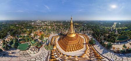 panoramic aerial view of shwedagon pagoda