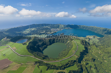 aerial view of azores sao miguel