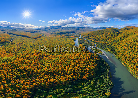 panoramic aerial view of uzon kamchatka