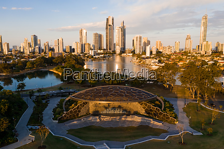 aerial view of surfers paradise queensland