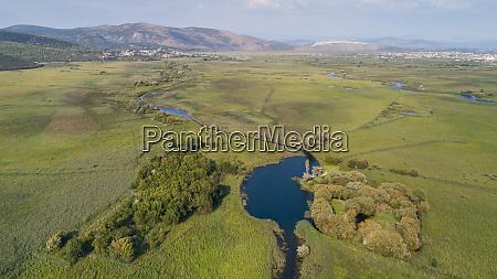 aerial view of norin river and