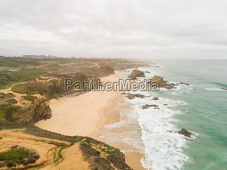 aerial view of praia da samoqueira
