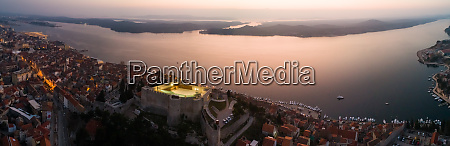 panoramic aerial view of Sibenik croatia