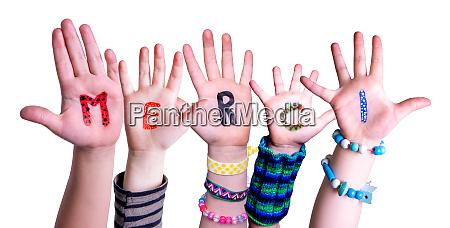 children hands building word merci means