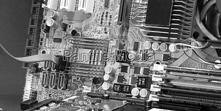 representation of an old dusty motherboard