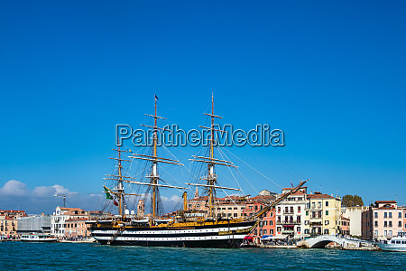 sailing ship and buildings in venice