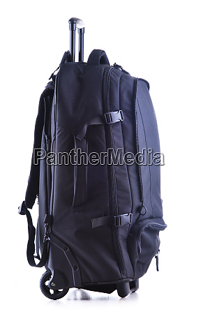 large black tourist backpack with wheels