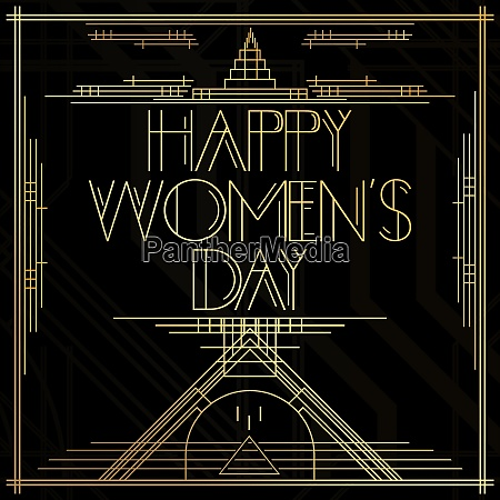 golden decorative happy womens day sign