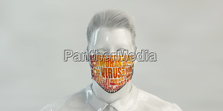 wuhan virus concept with man wearing
