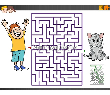 maze game with cartoon boy and