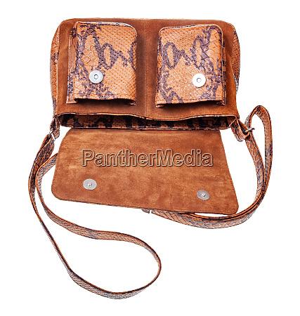 empty brown handbag handmade from natural