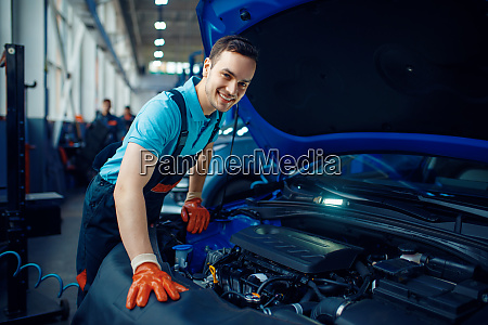 smiling worker checks vehicle car service