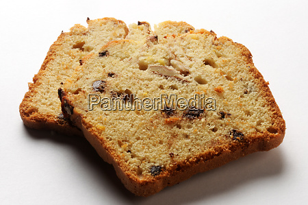 two slices of plum cake on