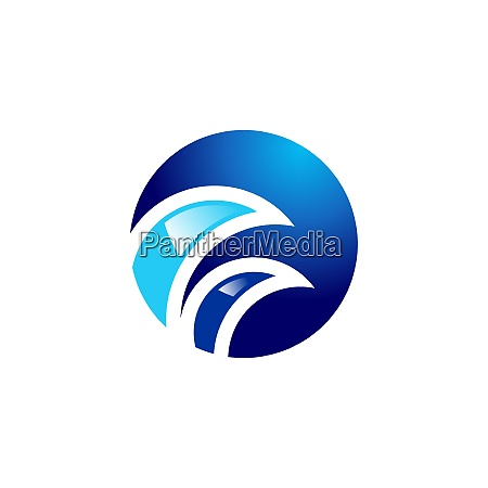 round circle wave logo abstract elements