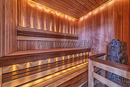 sauna room interior with light