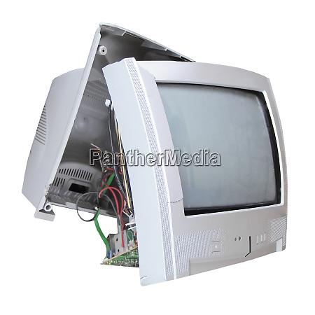 broken tv set with blank screen