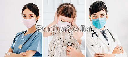 doctor and child wear mask