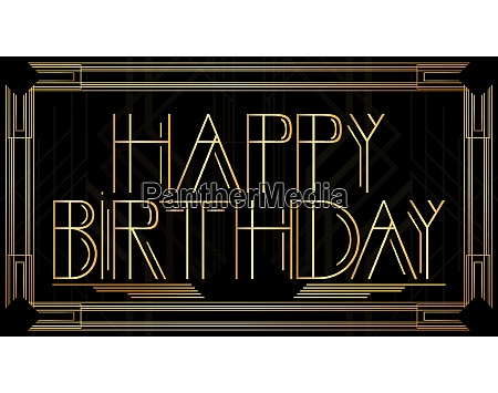 golden decorative happy birthday sign with