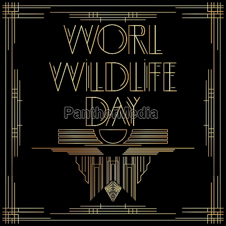 golden decorative world wildlife day sign