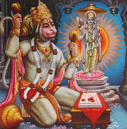 hanuman white god monkey indian holy