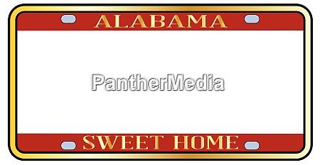blank alabama state license plate