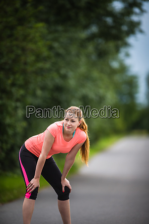 young, woman, running, outdoors, on, a - 28161673