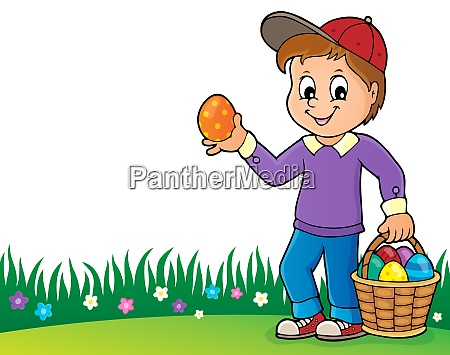 boy with easter eggs theme image
