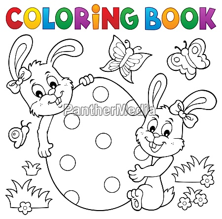 Coloring Book Easter Egg And Rabbits - Stock Image - #28162322  PantherMedia Stock Agency
