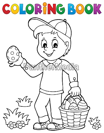 coloring book boy with easter eggs